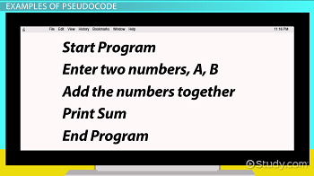 Pseudocode: Definition & Examples - Video & Lesson