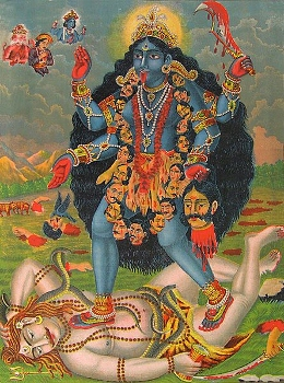 Kali standing on the body of Shiva