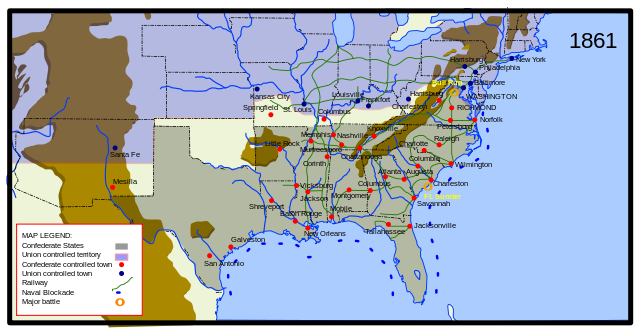 while aspects of scott s anaconda plan were eventually adopted such as the blockading ports 1861 and a campaign along the mississippi river 1862