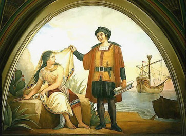 Columbus and Native Woman
