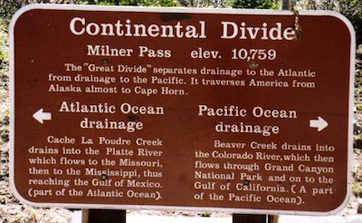 Photo of sign at the Western Continental Divide.