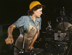 A woman factory worker during WWII.