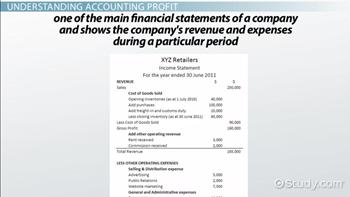 Accounting Profit: Definition & Formula - Video & Lesson Transcript