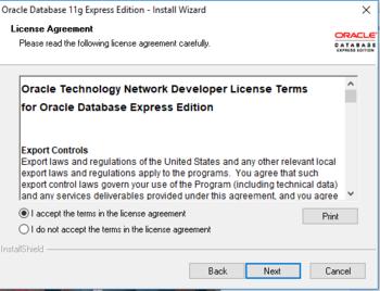 Installing Oracle Database Express Edition for Database