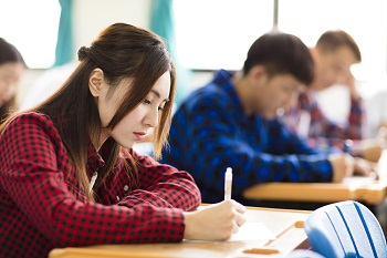 A student works on an assignment