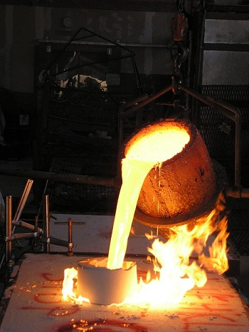 Red Hot Crucible With Molten Metal Stock Photo - Image of ... |Molten Metal Crucible