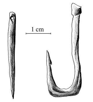 Illustration of a paleolithic needle and hook