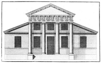 Elevation drawing from the books about architecture written by Palladio