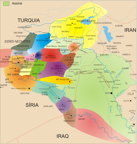 The colored areas represent separate Aramean polities at the height of ...