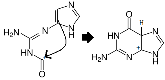 Guanine aromatic attack