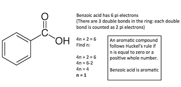 Benzoic acid is aromatic; it follows Huckels Rule.