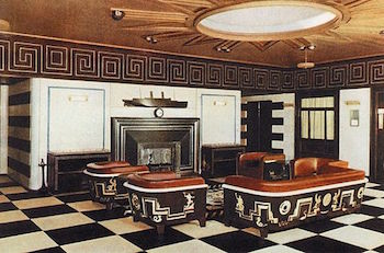 Art Deco interior with high contrast colors