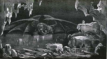 Engraving of Satan frozen in Hell by Gustave Dore