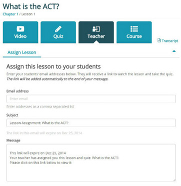 assign lesson feature