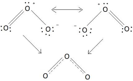 Draw A Lewis Structure Tor Ozone And Answer The Questions Below There Are Equivalent Lewis Structures For O 3 The Average O O Bond Order Is Study Com