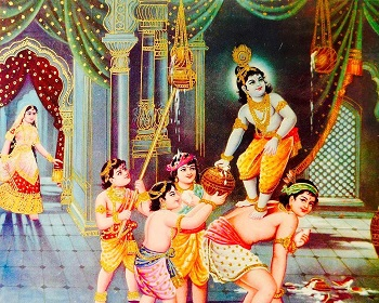 Image of child Krishna stealing butter