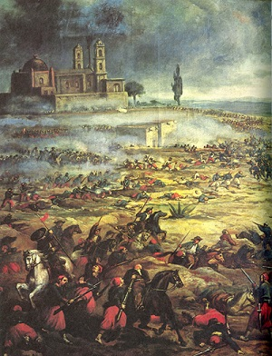 Painting of Mexican battle