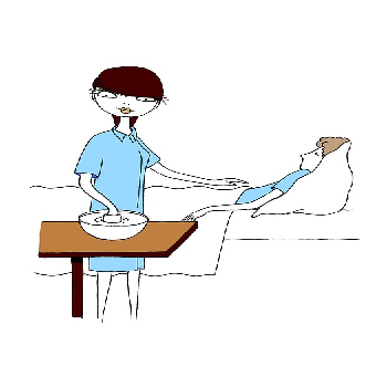 Illustration Of Nurse Giving A Bed Bath