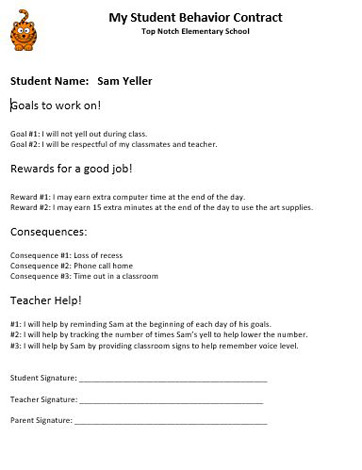 Student behavior contracts examples and templates for Student teacher contract template