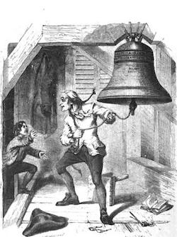 Bellringer ringing the Liberty Bell upon being told of American independence