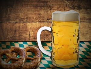 Beer and pretzels are iconic Oktoberfest refreshments