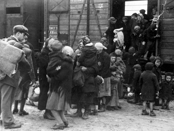 Jewish deportees arrive at Birkenau-Auschwitz