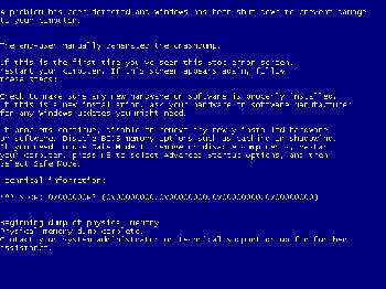 memory management error blue screen