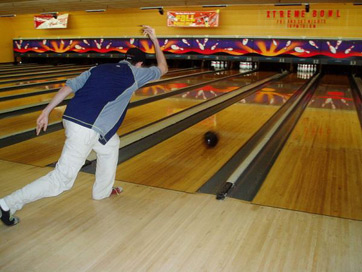 bowling ball traveling down lane
