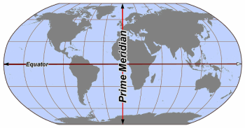 High Quality World Map Showing Prime Meridian