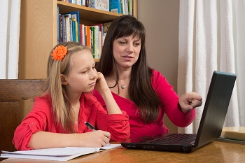 mother and child homeschooling