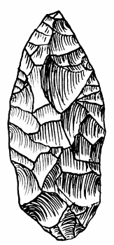 Illustration of a stone tool sharpened using flaking