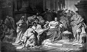 example of dramatic irony in julius caesar act 2