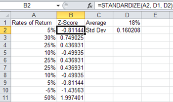 Calculate Z-Score Excel