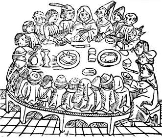 Illustration of characters from The Canterbury Tales gathered around a table at the Tabard Inn