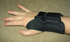 A splint used to support the wrist during movement