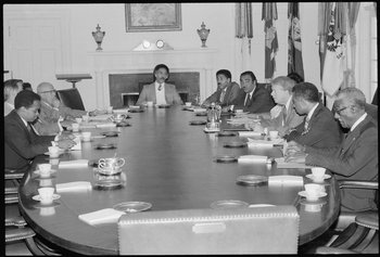 President Jimmy Carter meeting with the Congressional Black Caucus in 1977