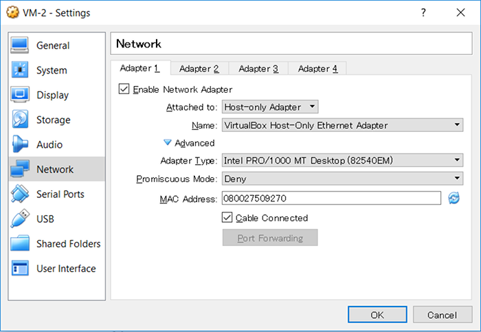 Attaching the VM Virtual Network Adapter to Host-only Network