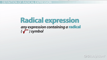 Radical Expression: Definition & Examples - Video & Lesson ...