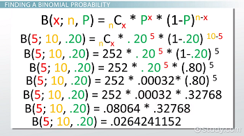 Work for binomial probability formula example
