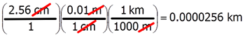 Conversion of cm to km by the factor-label method