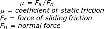 Coefficient of Static Friction