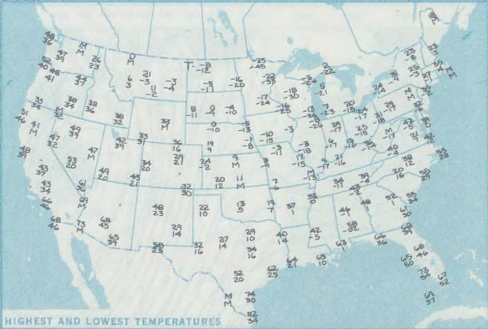 A Temperature Field (Map) of the USA