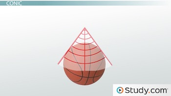 conic projection illustration with basketball