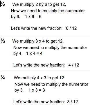How to add three or more fractions with like unlike denominators now that all our fractions have the same denominator we can add the numerators and keep the denominator 612 412 312 1312 ccuart Gallery