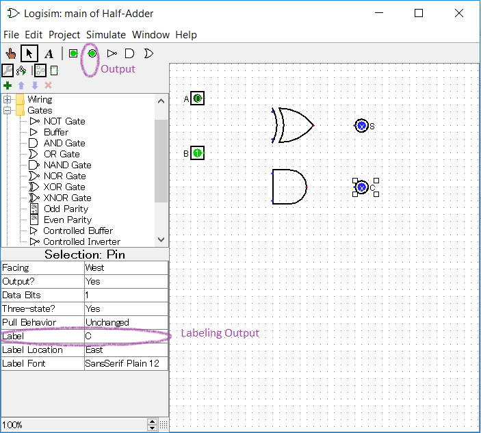 using logisim to build half \u0026 full adders study comadding 2 outputs to the half adder circuit