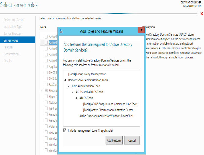 AD Domain Services Role in Windows Server 2016: Configuring