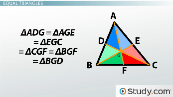 Six triangles created by medians are equal in area
