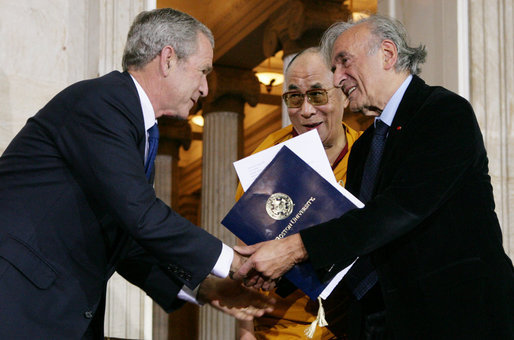 President Bush and the Dalai Lama welcome Elie Wiesel to the U.S. Capitol