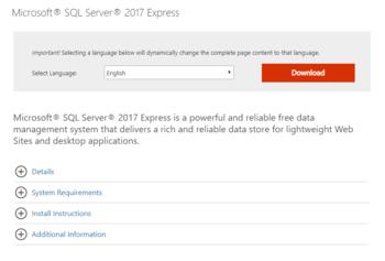 Installing SQL Server Express Edition for Database
