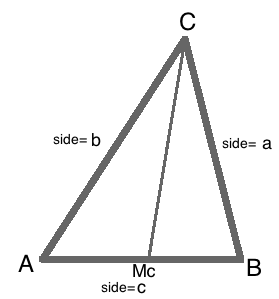 Median of a triangle definition formula video lesson in this first example we see that side a 6 cm side b 7 cm and side c 5 cm lets find the length of mc or median c ccuart Image collections